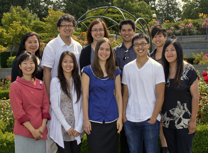Chinese Canadian Stories Research Team 2011-2012. Back Row (L-R): Joanne Poon, Henry Yu, Denise Fong, Alejandro Yoshizawa, Jennifer Yip. Front Row (L-R): Elena Kusaka, Wendy Phung, Rosanne Sia, Ethan Wong, Sarah Ling.