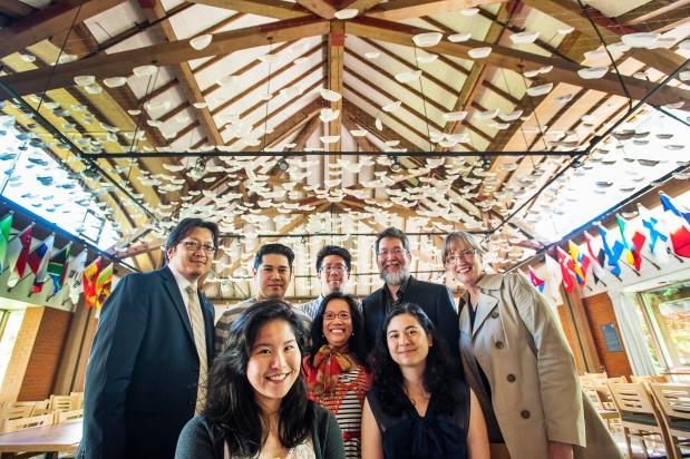 Bottom, left to right: Dominique Bautista, Leonora Anbgeles and Carolyn Nakagawa. Top-left to right: Henry Yu, Alejandro Yoshizawa, Chris Lee, Glenn Deer and Anne Murphy at UBC in Vancouver. Photograph by: Arlen Redekop, Vancouver Sun